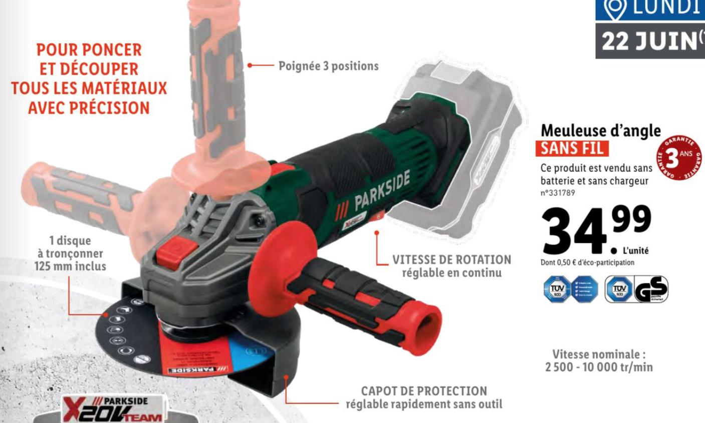 Meuleuse d'angle sans-fil Parkside - 125mm (Sans Batterie/Chargeur)