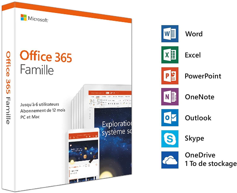 Abonnement de 1 An à Office 365 Famille - Jusqu'à 6 utilisateurs, PC ou Mac (Dématérialisé - Boite Physique)