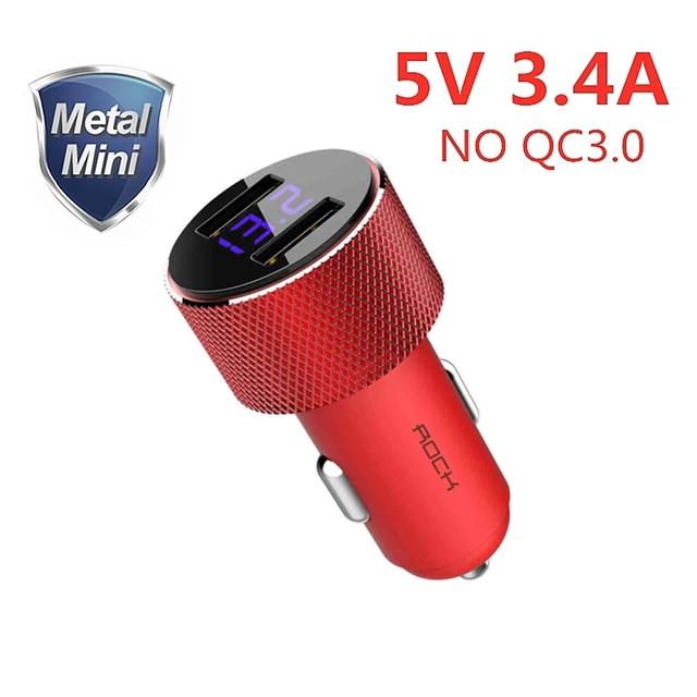 [Nouveaux clients] Chargeur allume cigare Rock - 5V, 3.4A, métal double USB