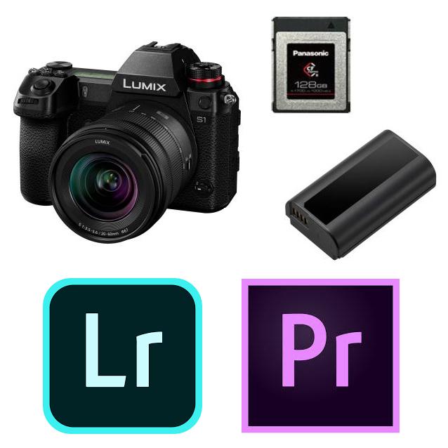 Hybride Lumix S1 + Objectif 20-60mm F3.5-5.6 + Abonnements Adobe Lightroom-Premiere Pro + V-Log + Carte XQD 128Go + 2ème Batterie (ODR 400€)