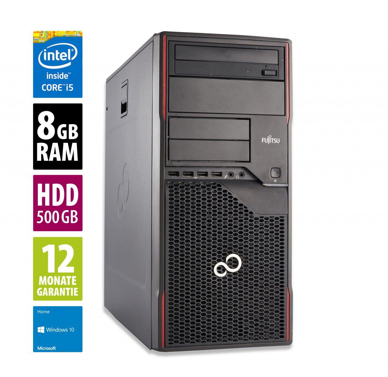 Tour PC Fujitsu Esprimo P700 MT - Core i5-2400 (3,1 GHz), 8 Go RAM, 500 Go HDD, Lecteur DVD-RW, Windows 10 (Reconditionné) - afbshop.de