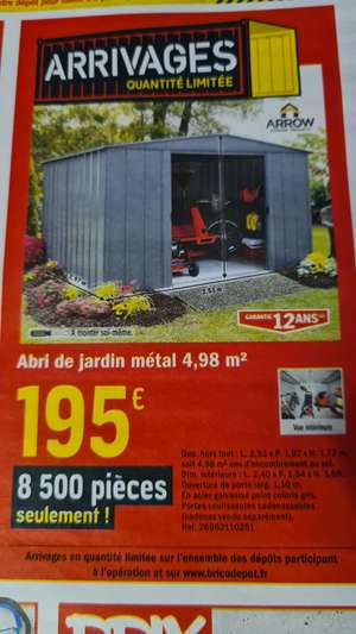 Abri de jardin en métal Arrow - 4,98m2