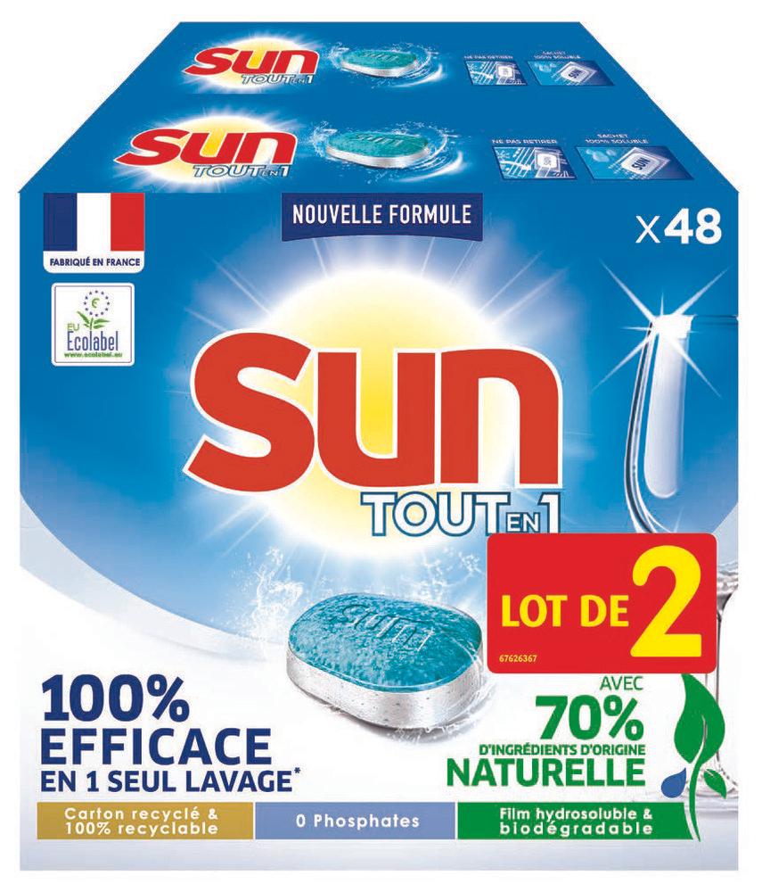 """Lot de 96 tablettes pour lave vaisselle Tout-en-Un Sun """"Efficace et respectueux"""""""