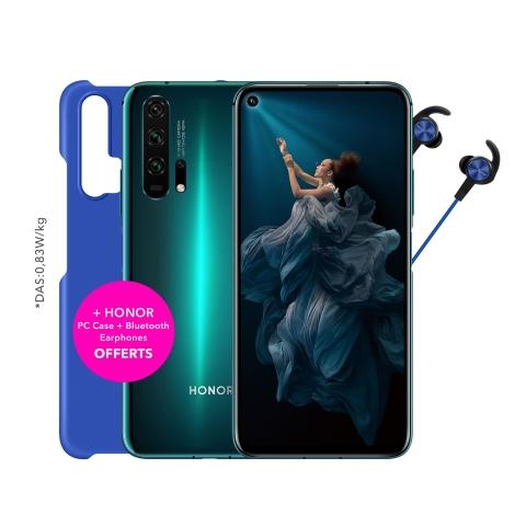 "Smartphone 6.26"" Honor 20 Pro - Full HD+, Kirin 980, RAM 8 Go, 256 Go + Écouteurs bluetooth ou Mini Enceinte + Coque de protection"