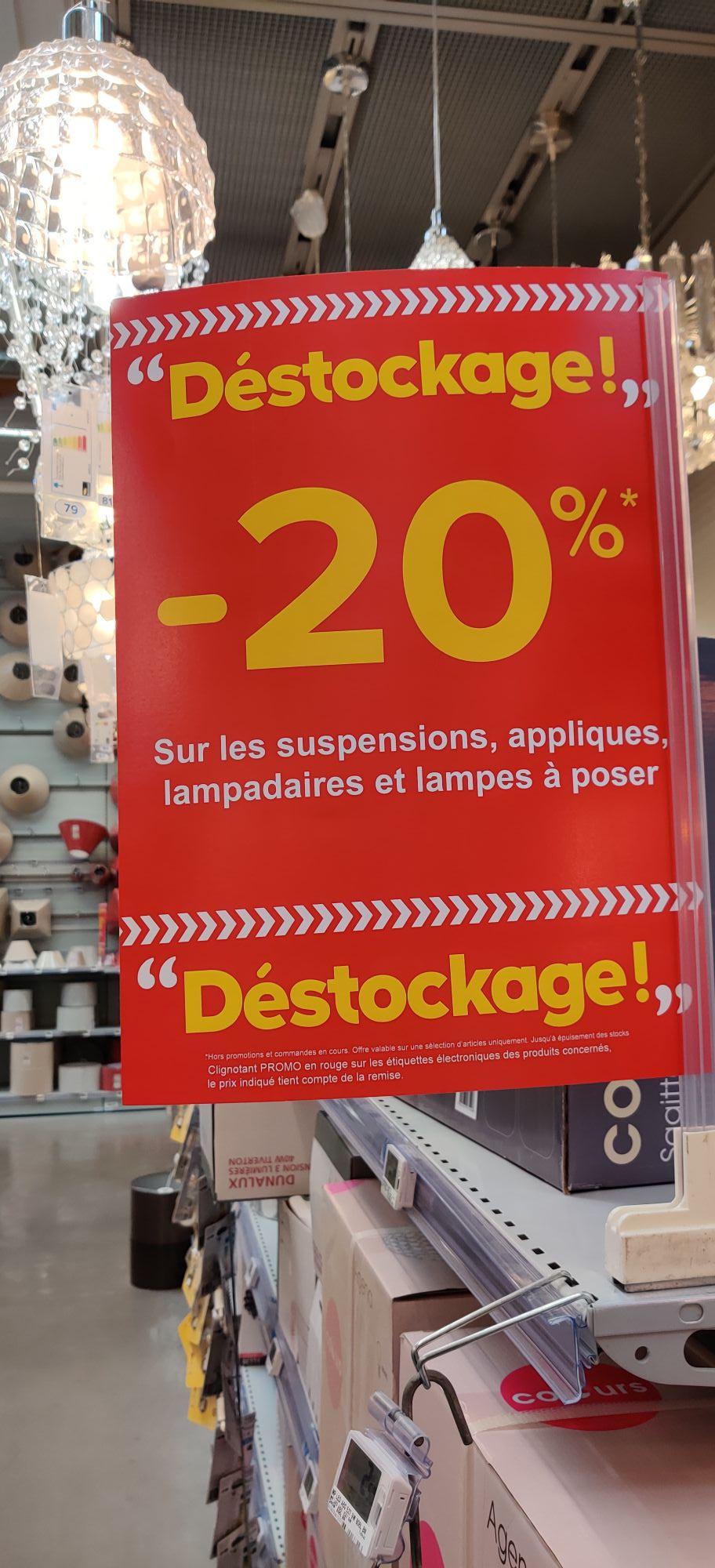 20% de remise sur une grande sélection de suspensions, appliques, lampadaires et lampes à poser - Besançon (25)