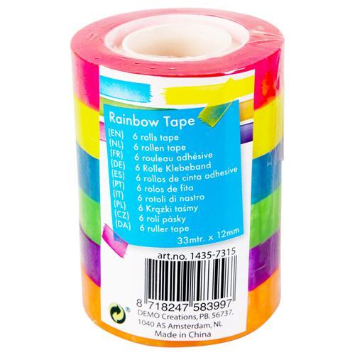 Ruban adhésif  Rainbow - 6 pièces (33 m x 12 mm)