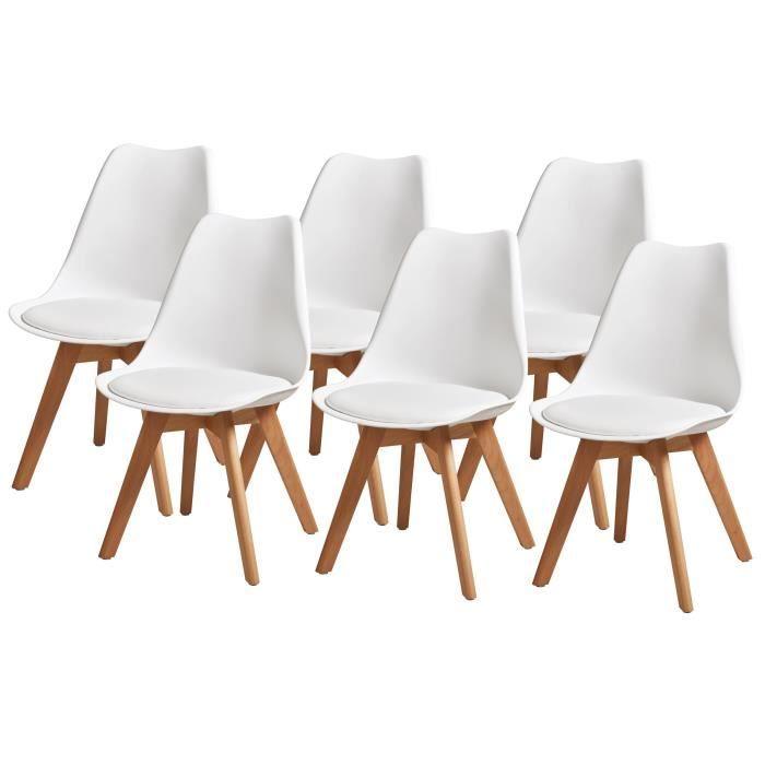 Lot de 6 chaises de salle à manger style scandinave Bjorn