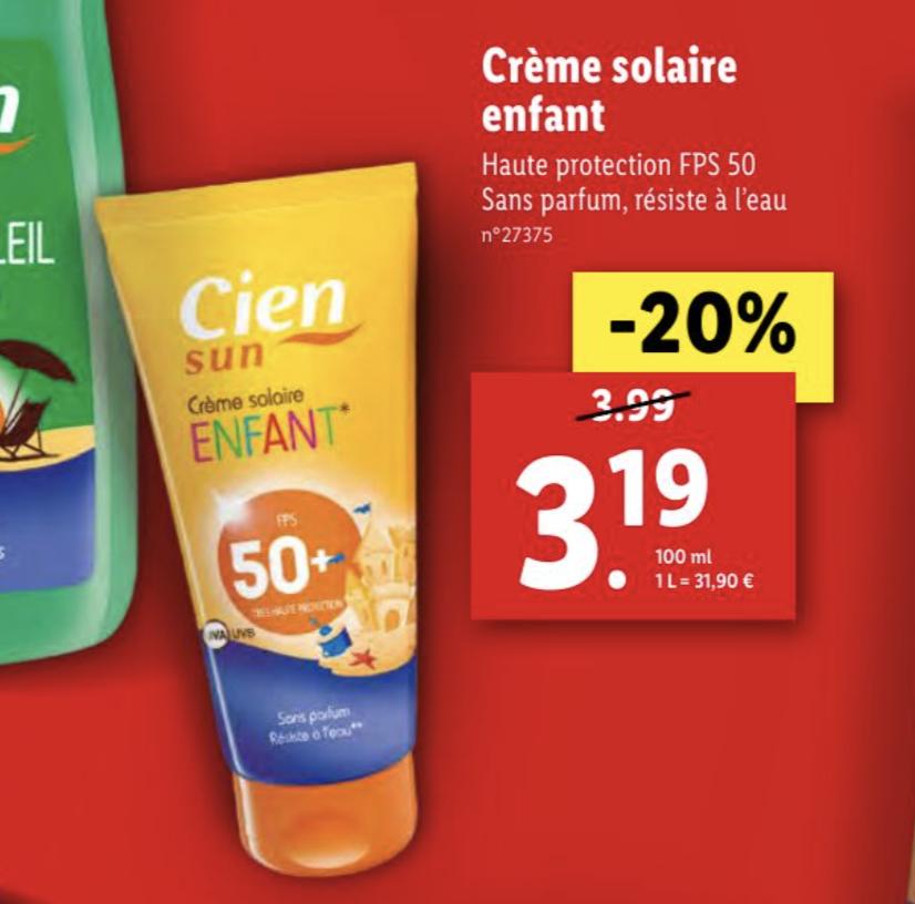 20% de réduction sur les crèmes solaires Cien - Ex: Crème enfant FPS 50