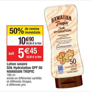 Lotion solaire hydratante Hawaiian Tropic Silk Hydration - SPF 50, 180 ml