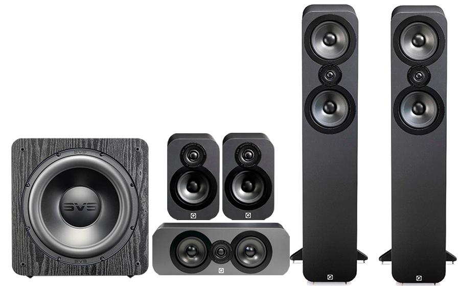 Pack Enceintes Home-cinéma 5.1 hi-fi Q Acoustics 3050 Cinema Pack + Caisson de basses subwoofer SVS SB 2000 Pro (Graphite)