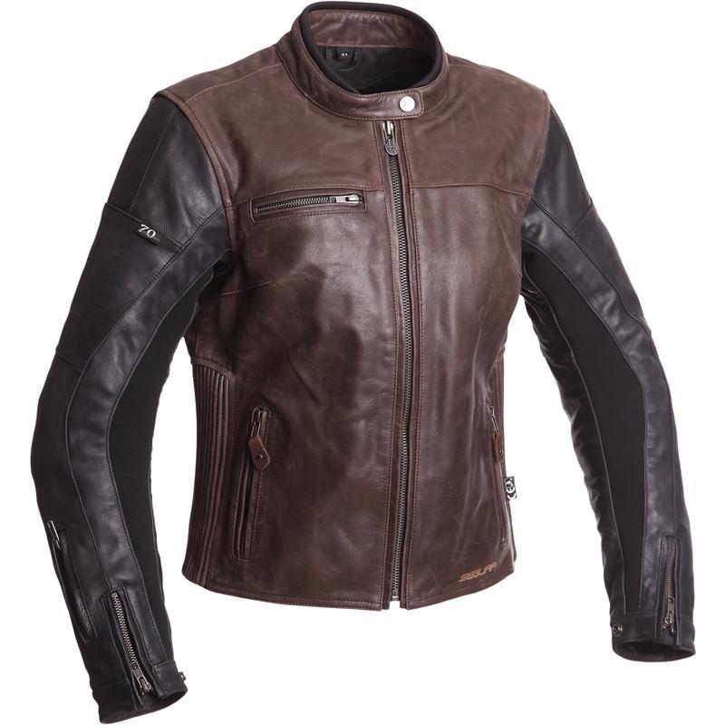 Blouson de moto femme Segura Lady Nova - en cuir Buffalo, marron (du 1 au 4)