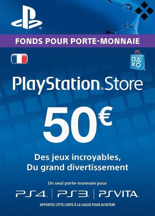 Carte PlayStation Store de 50€ - Dématérialisée (39,49€ avec le code POURVOUS5)