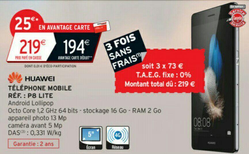 "Smartphone 5"" Huawei P8 Lite - 4G, RAM 2 Go (25€sur la carte + ODR de 30€)"