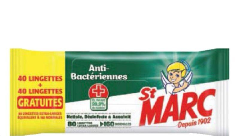Paquet de 80 lingettes antibacteriennes extra larges St Marc
