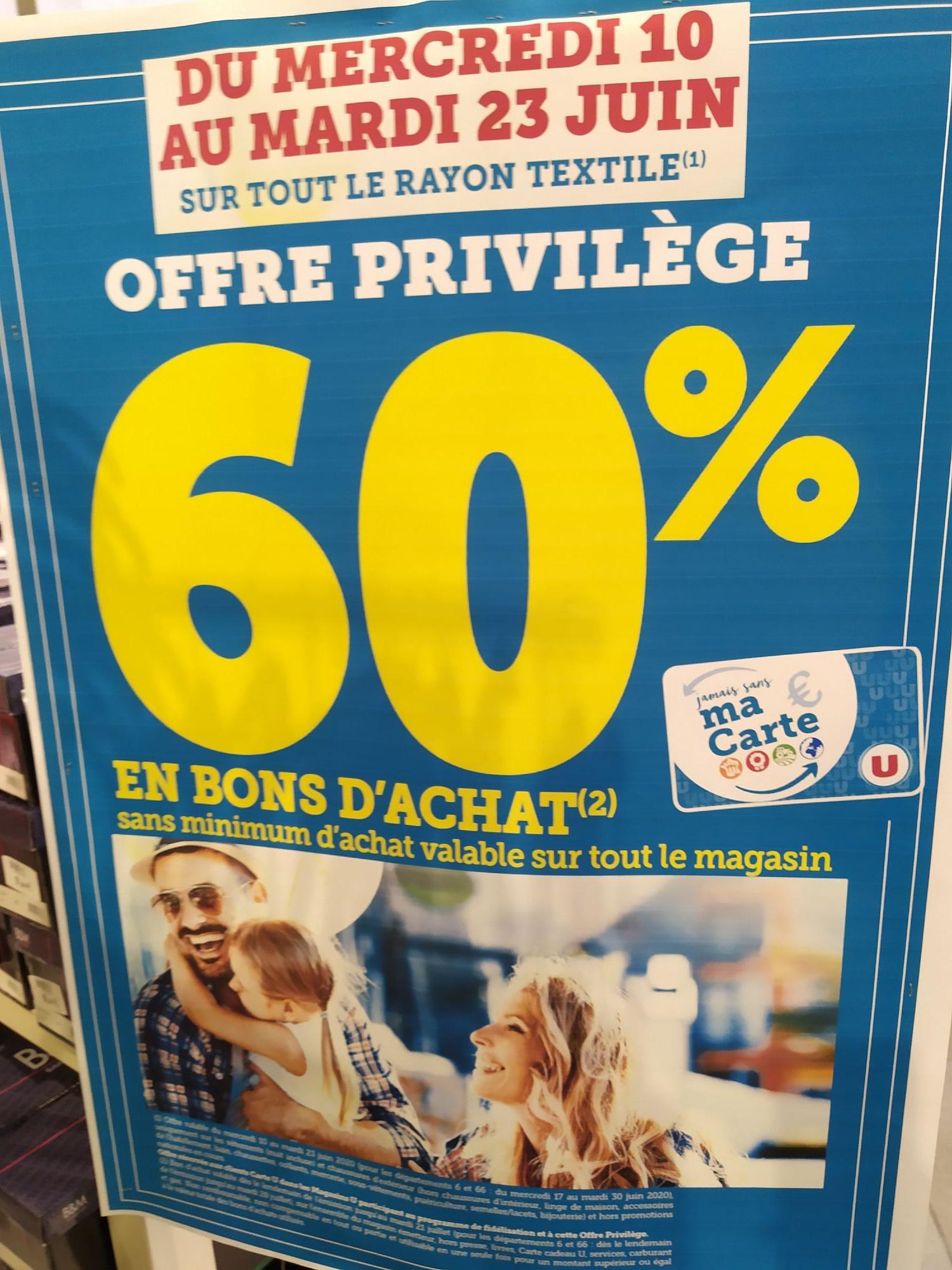 [Carte Fidélité] 60% offerts en bon d'achat sur le textile (Agde 34)