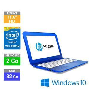 """PC portable 11.6"""" HD -  Hp Stream11r000nf - Celeron N3050 - 2 Go Ram - 32 Go SSD (+20% en bons d'achat)"""