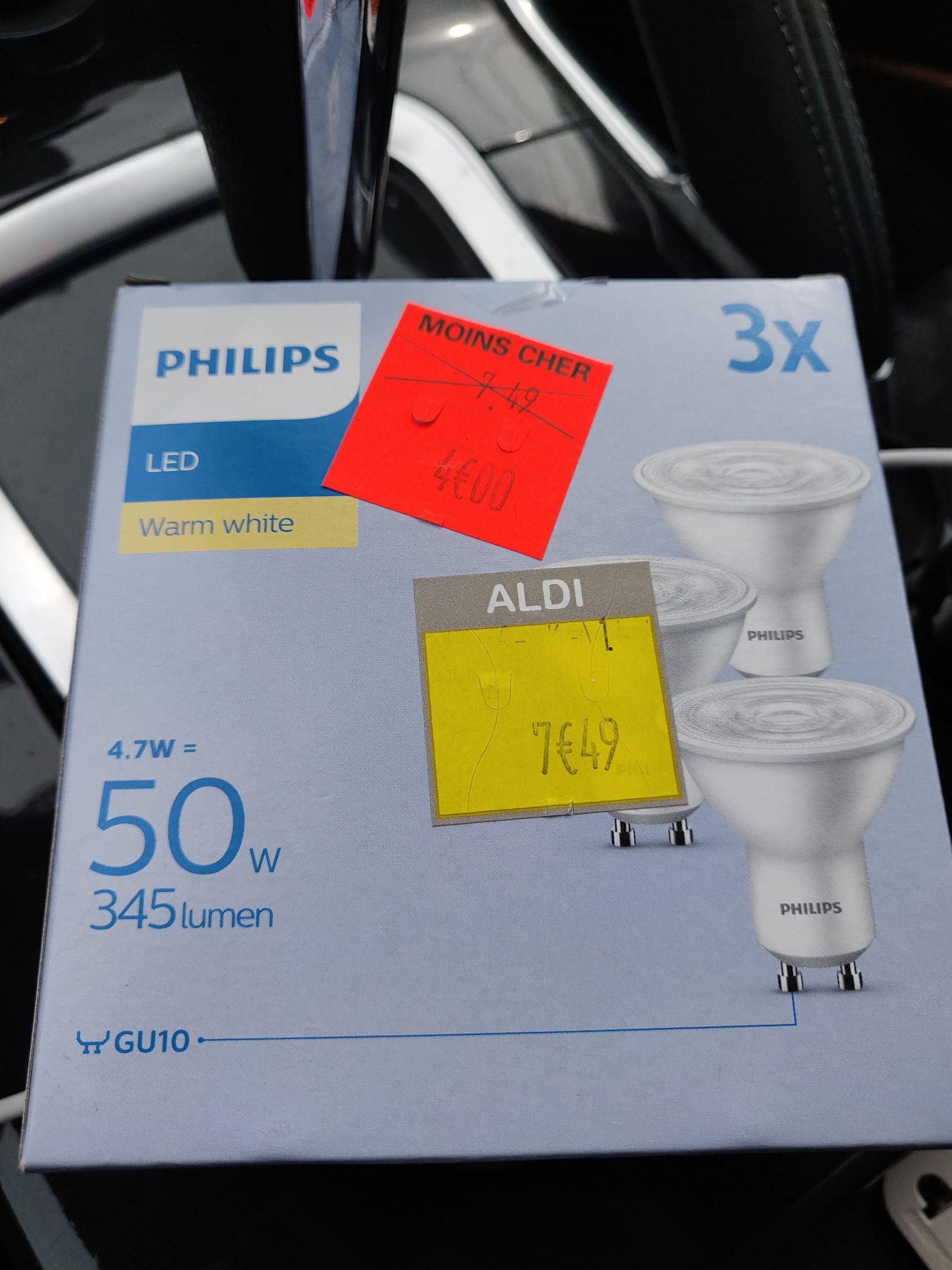 Lot de 3 ampoules LED Philips - GU10, 5.7 W (Aldi Pierres 28 / 78 / 91)
