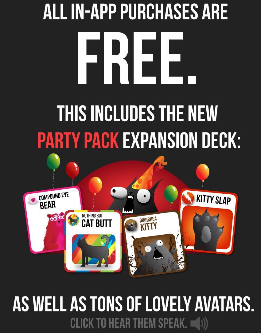 Tous les achats in-app gratuits pour le jeu officiel Exploding Kittens sur iOS