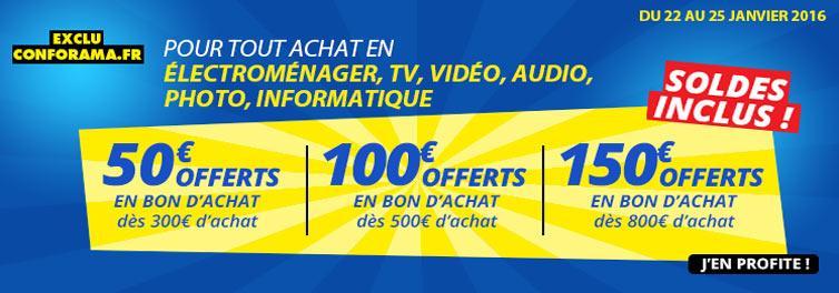 50€ offerts en bon d'achat dès 300€ d'achat, 100€ offerts dès 500€, 150€ offerts dès 800€ sur une sélection de rayons