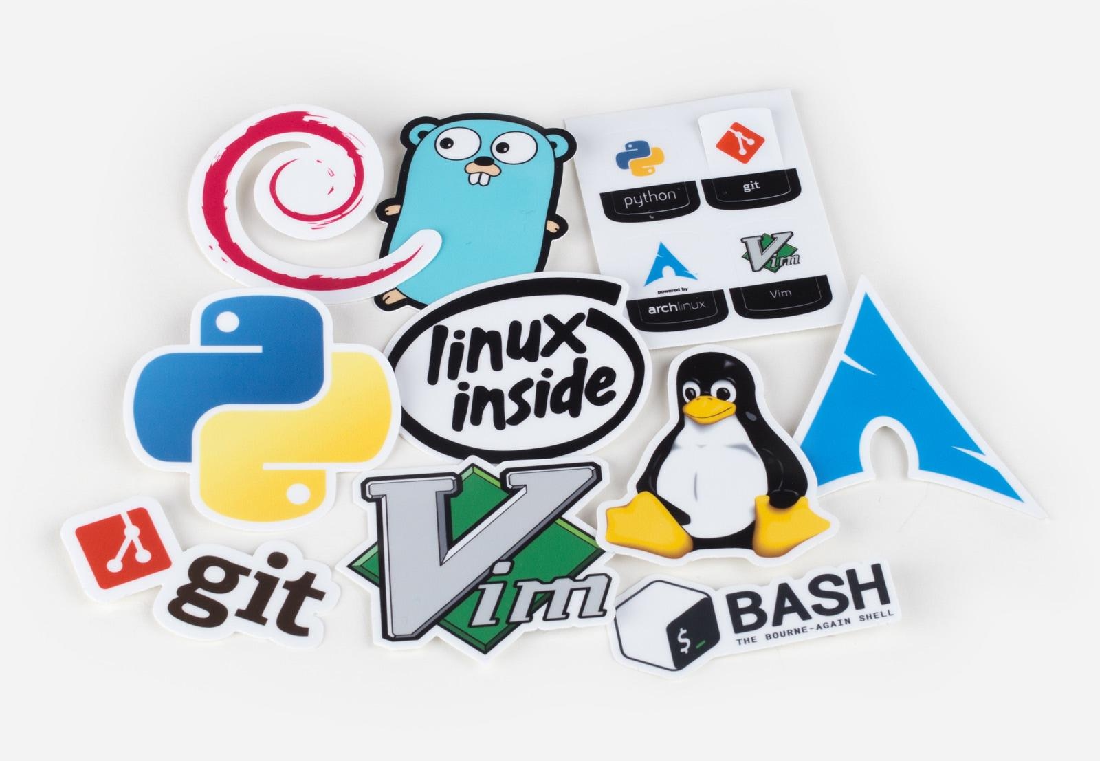 Lot de 10 Stickers découpés Unix