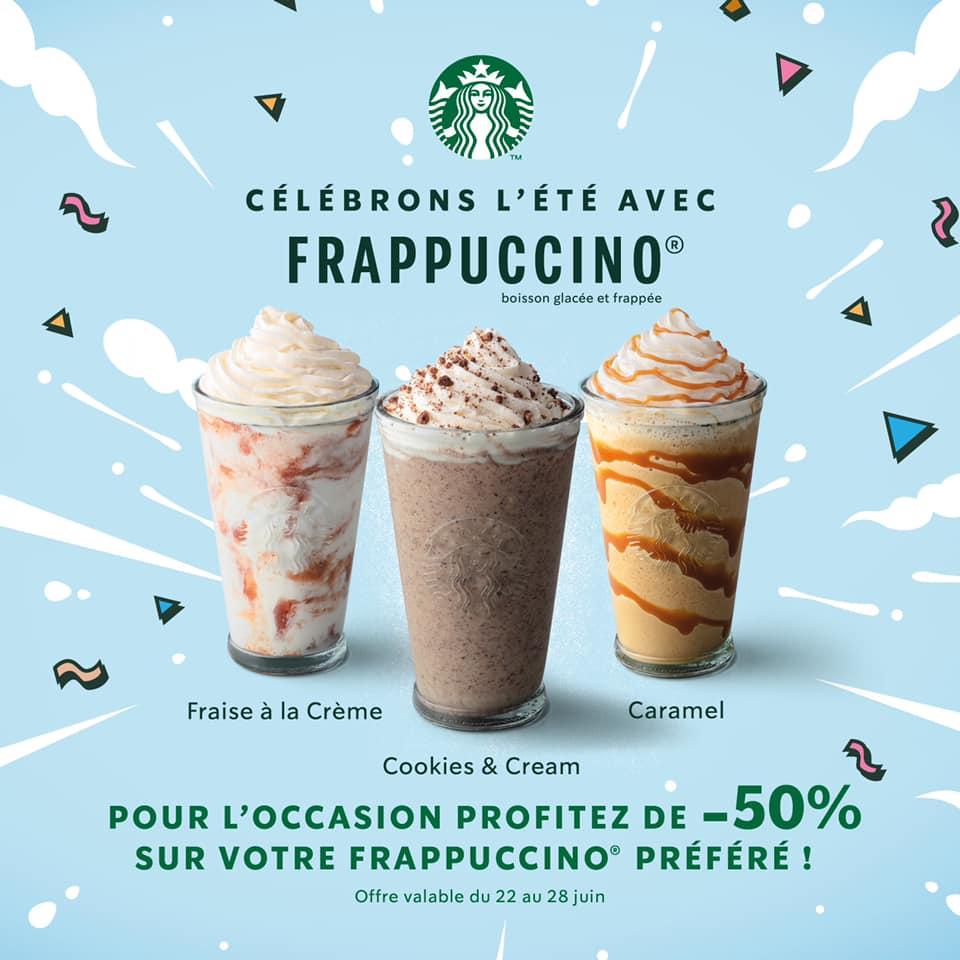 50% de réduction sur les Frappuccino Starbucks