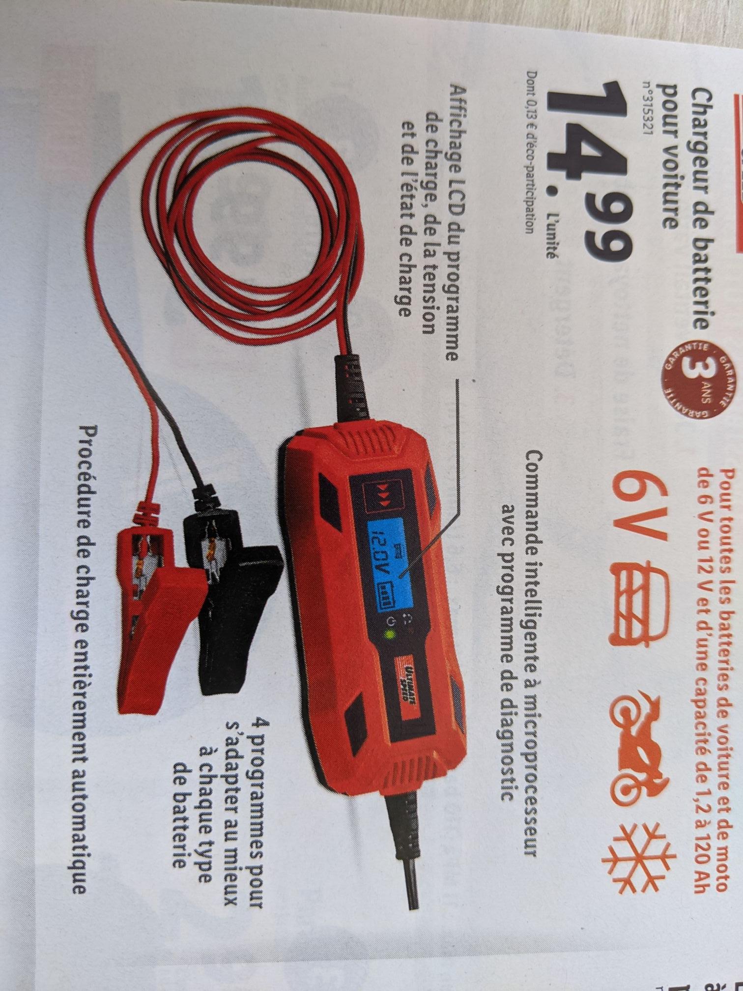 Chargeur batterie pour voiture et moto Ultimate Speed - 6 ou 12V