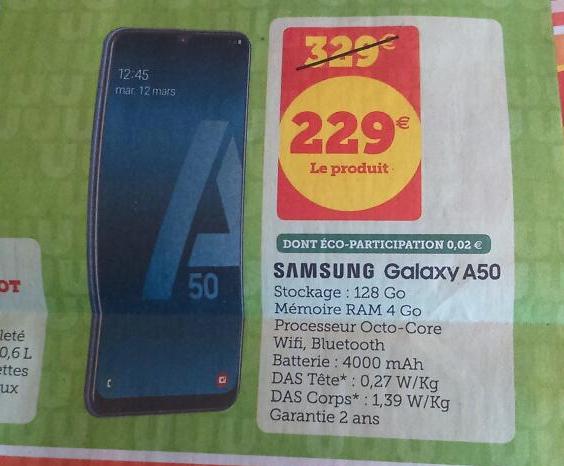 """Smartphone 6.4"""" Samsung Galaxy A50 - 4 Go RAM, 128 Go ROM"""