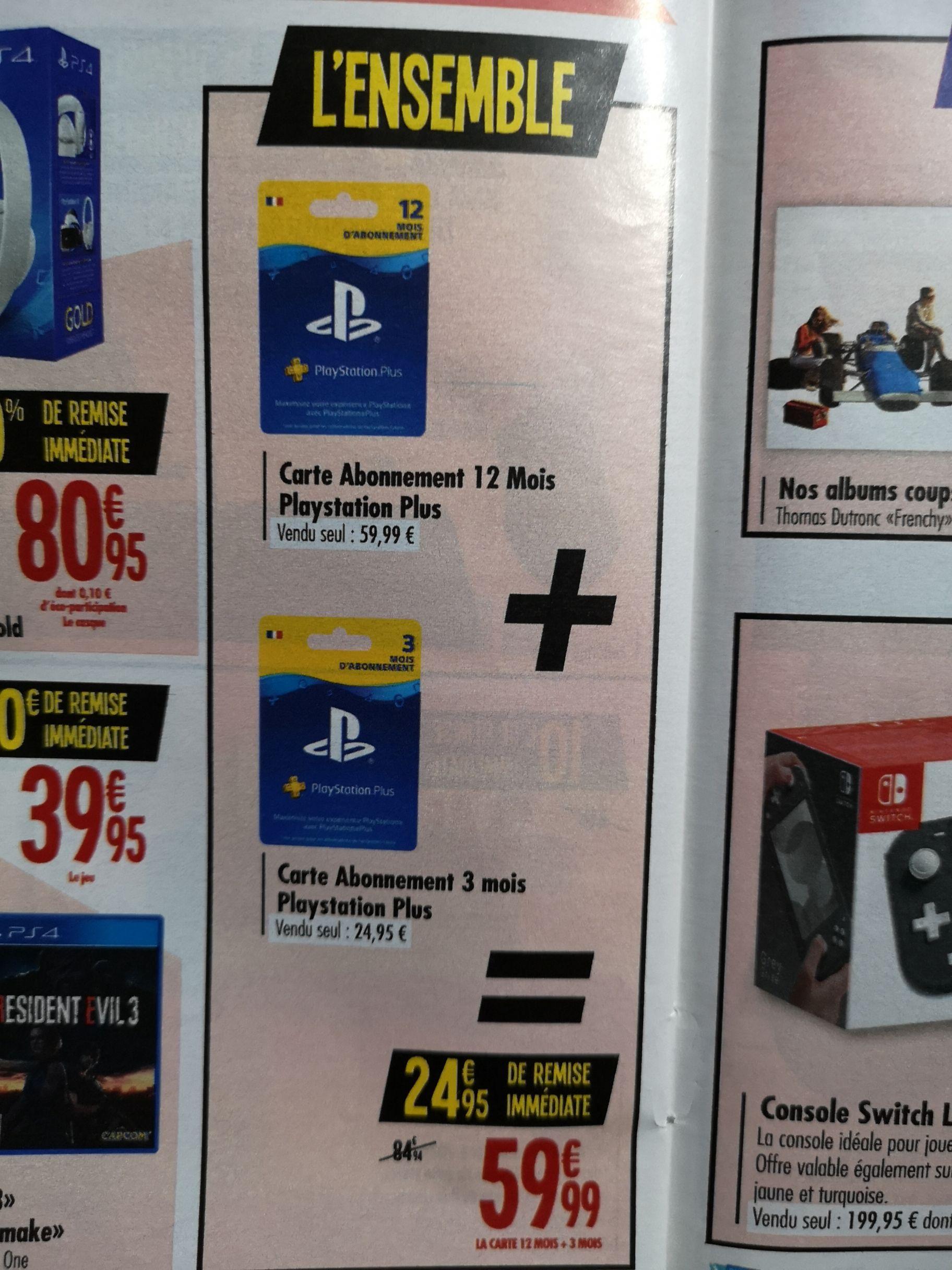 Carte abonnement au Playstation Plus de 12 mois + 3 mois offerts