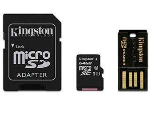 Carte mémoire microSD Kingston 64Go Classe 10 + Adapteur