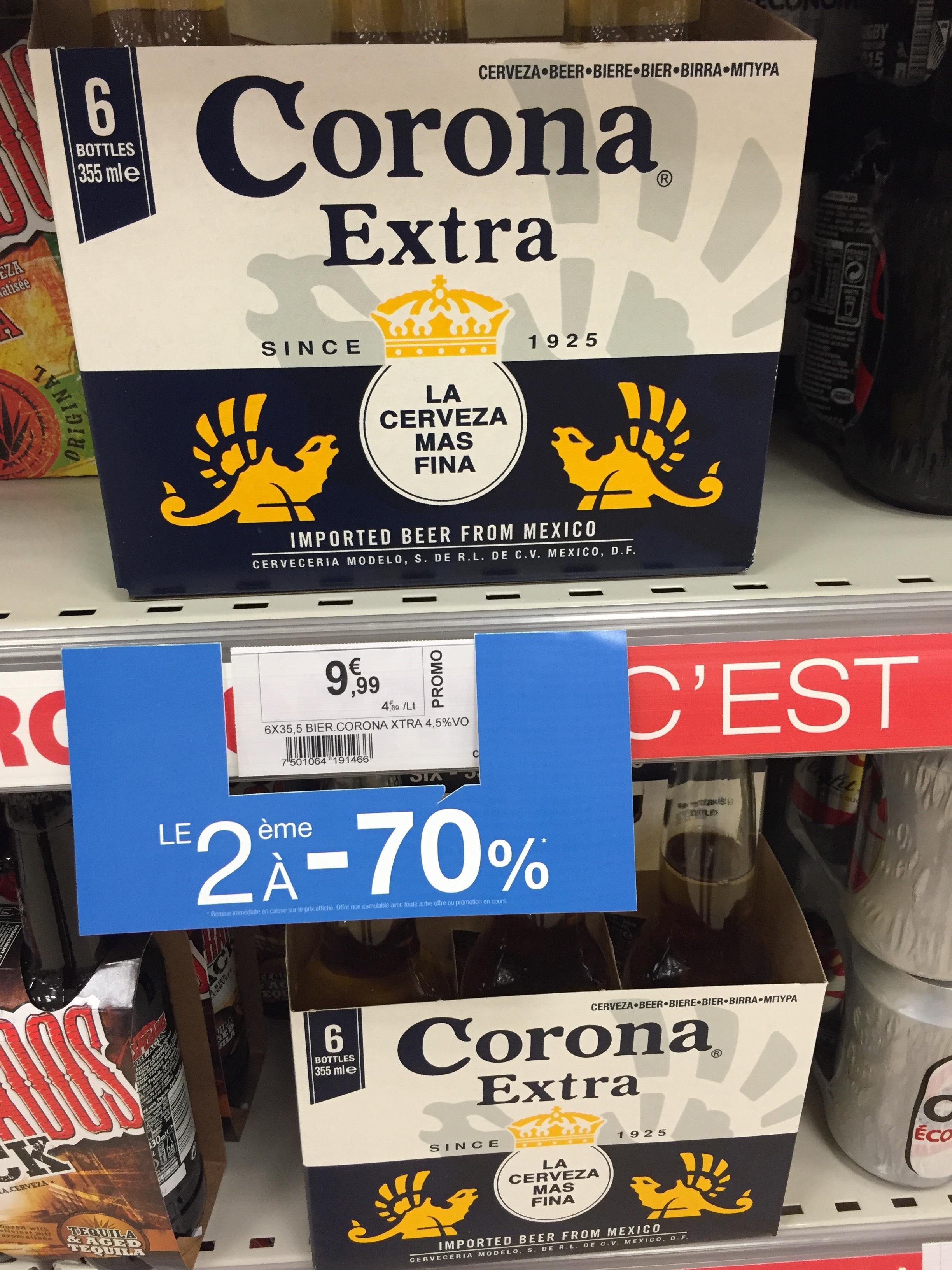 -70% sur le 2ème pack de Corona 6x355ml soit 12,99€ les 2 packs au lieu de 19,98€