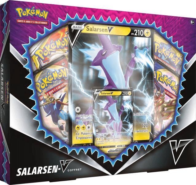 Coffret Pokémon Épée & Bouclier Salarsen-V : 4 boosters + 1 carte promo V + 1 carte géante