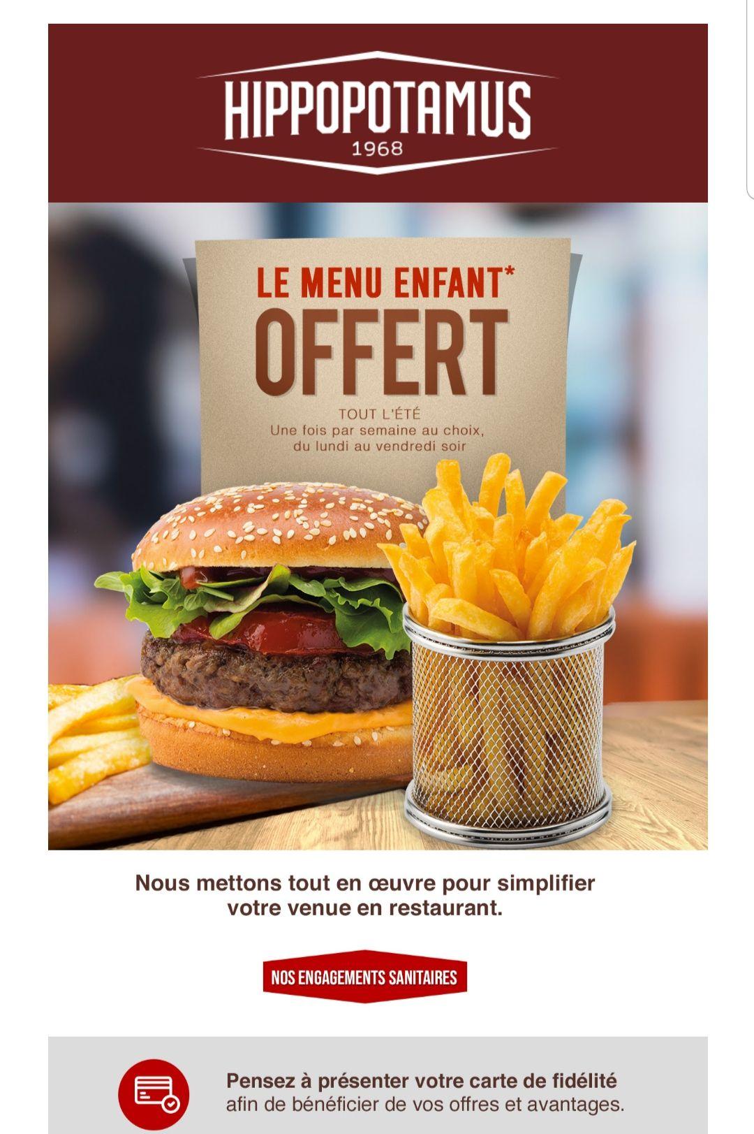 Un menu adulte de 10€ minimum = Un menu enfant offert tout l'été