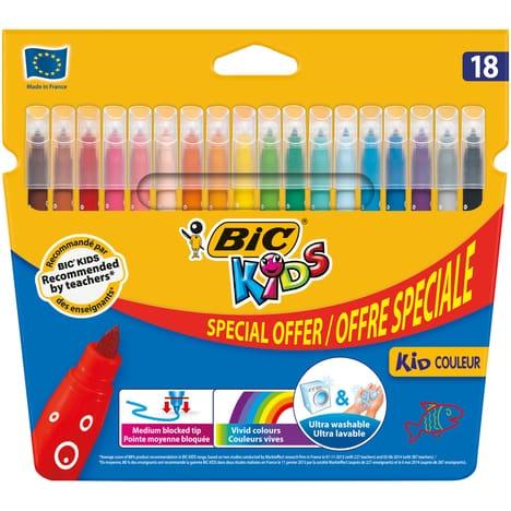 Lot de 18 feutres de coloriage lavables Bic Kid (Via 1,23 € sur la carte Fidélité)