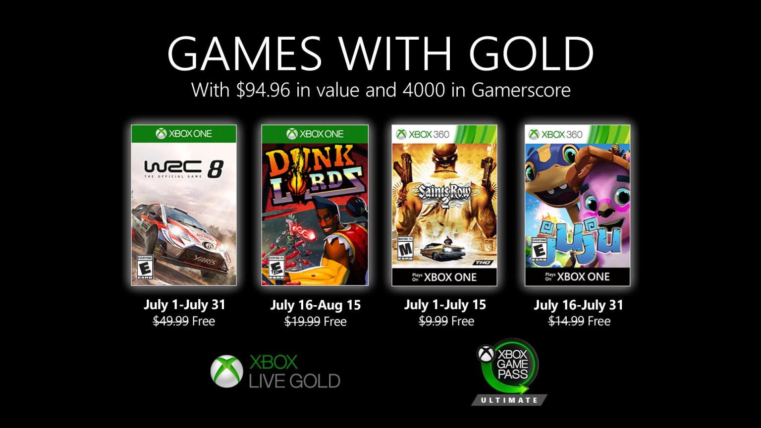 [Membres Gold] Sélection de jeux vidéo offerts sur Xbox 360 / Xbox One (dématérialisés) - Ex : WRC 8 FIA World Rally Championship