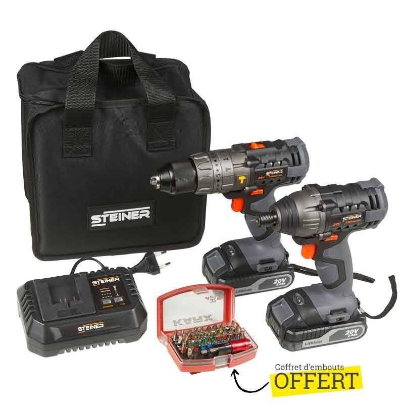 Pack d'outils Steiner - perceuse à percussion + visseuse à choc + 2 batteries (2.0 Ah) + set de 32 embouts CR-V - BricolageDirect.com