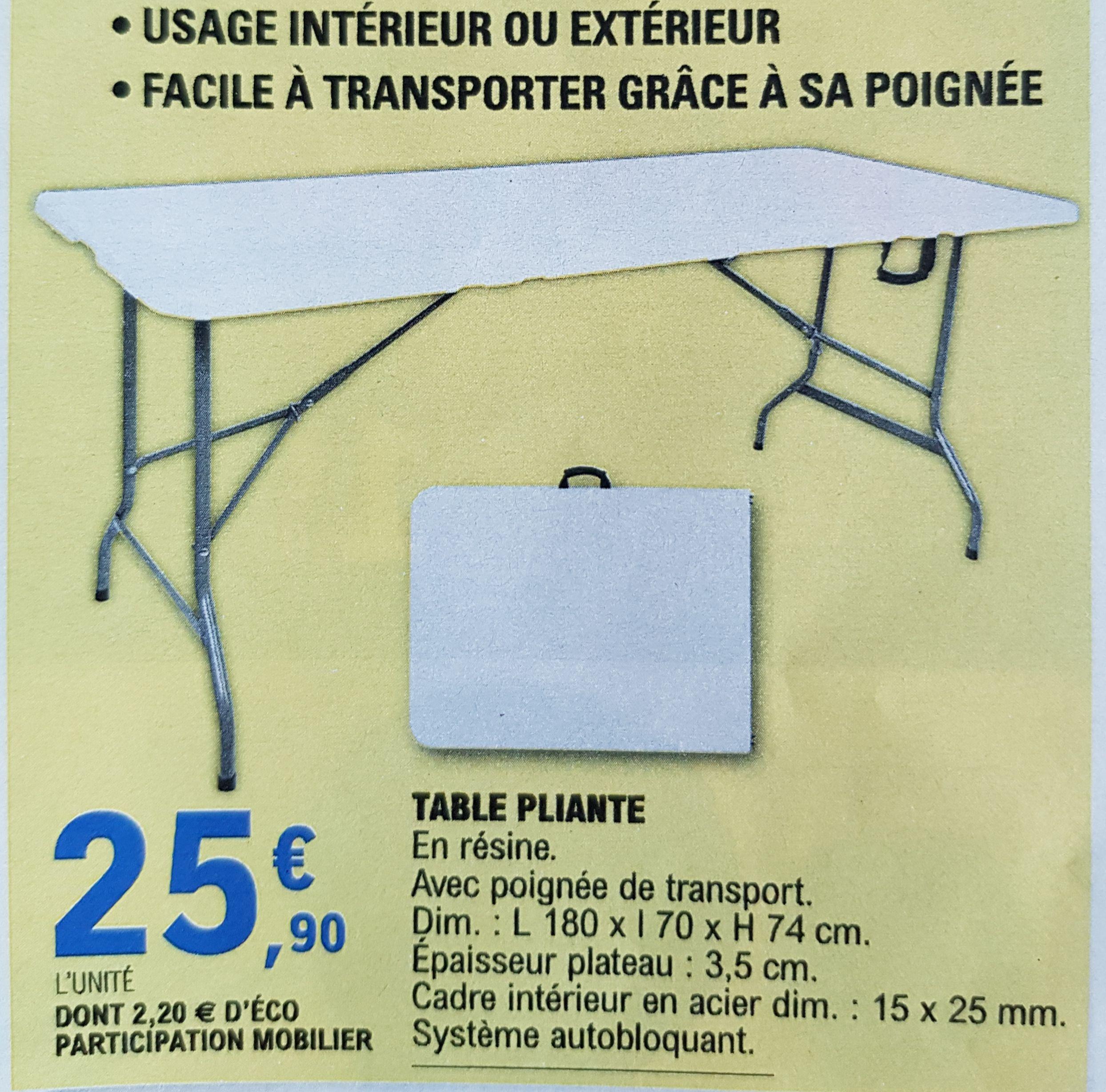 Table pliante avec poignée de transport - L 180 x l 70 x H 74 cm