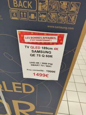 """TV QLED 75"""" Samsung QE75Q60R - 4K UHD (Frontaliers Luxembourg)"""