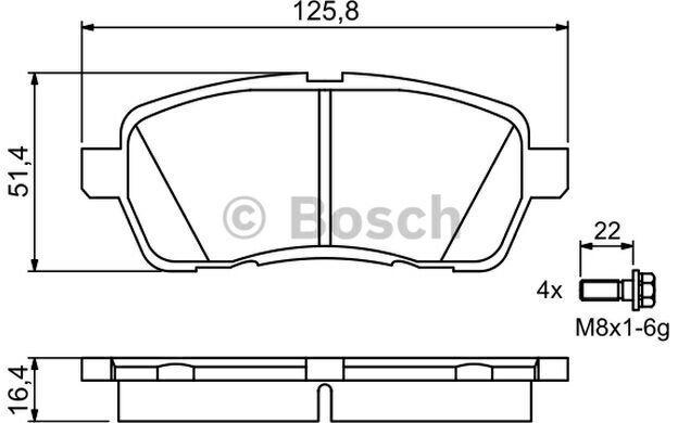 Jeu de 4 plaquettes de frein à disque Bosch