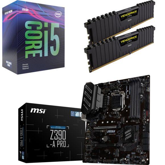 Processeur Intel i5-9600K + Kit de RAM Corsair Vengeance LPX 16Go (2x 8Go, 3200MHz, Cas 16) + Carte mère MSI Z390 A-Pro (Via ODR de 40€)
