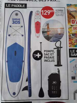 Kit Paddle Rouge ou Bleu Wave 305 + Pompe + Sac + Pagaie - 305 x 71 x 10cm