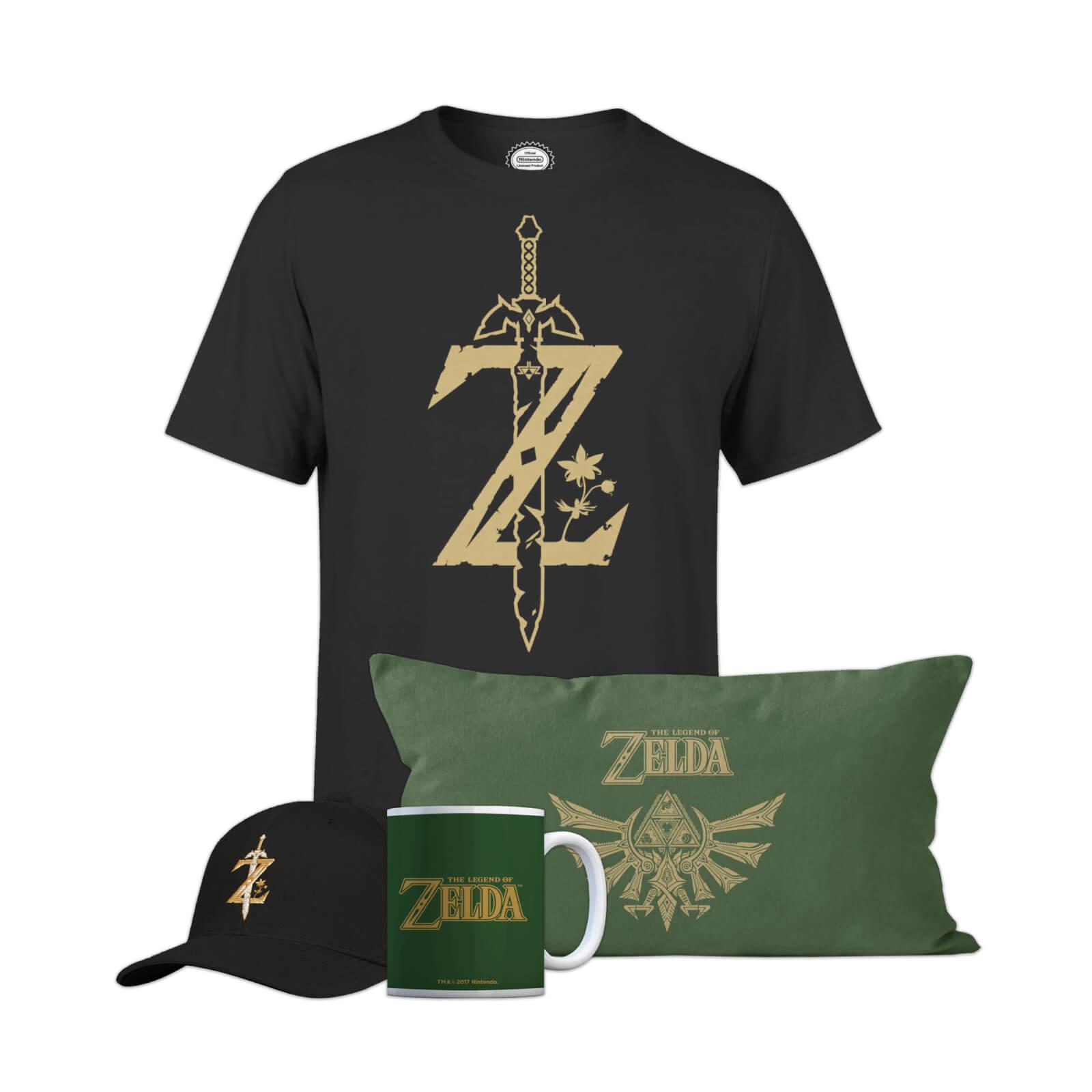 Méga Lot de goodies Nintendo The Legend Of Zelda : T-shirt + Coussin + Tasse + Casquette