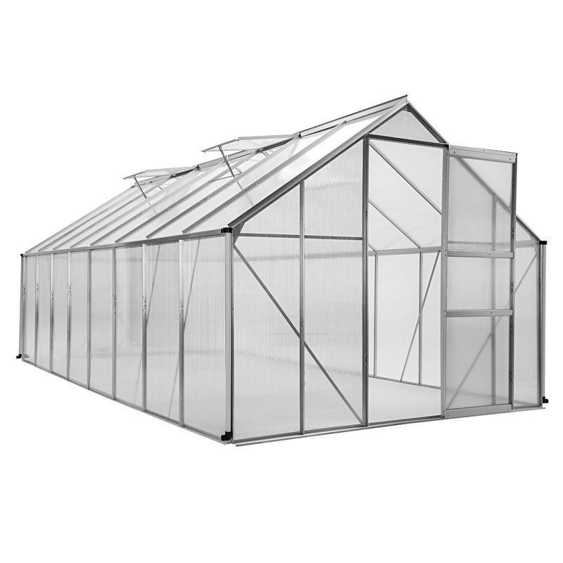 Serre de jardin en aluminium et polycarbonate - porte coulissante / 4 fenêtres, 12,5m², 490 x 250 x 195 cm