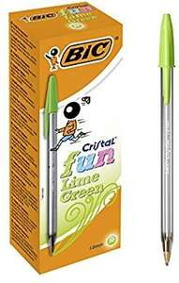Boîte de 20 stylos-bille BIC Cristal Fun - Pointe large, Vert citron