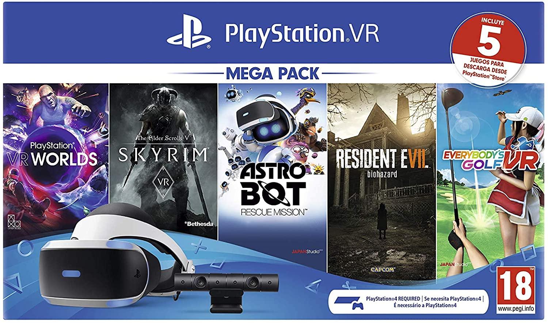 Megapack Sony Playstation VR + Caméra MK4 + 5 jeux (VR Worlds + Skyrim + Astrobot + Everybody's Golf + Resident Evil 7 Biohazard)