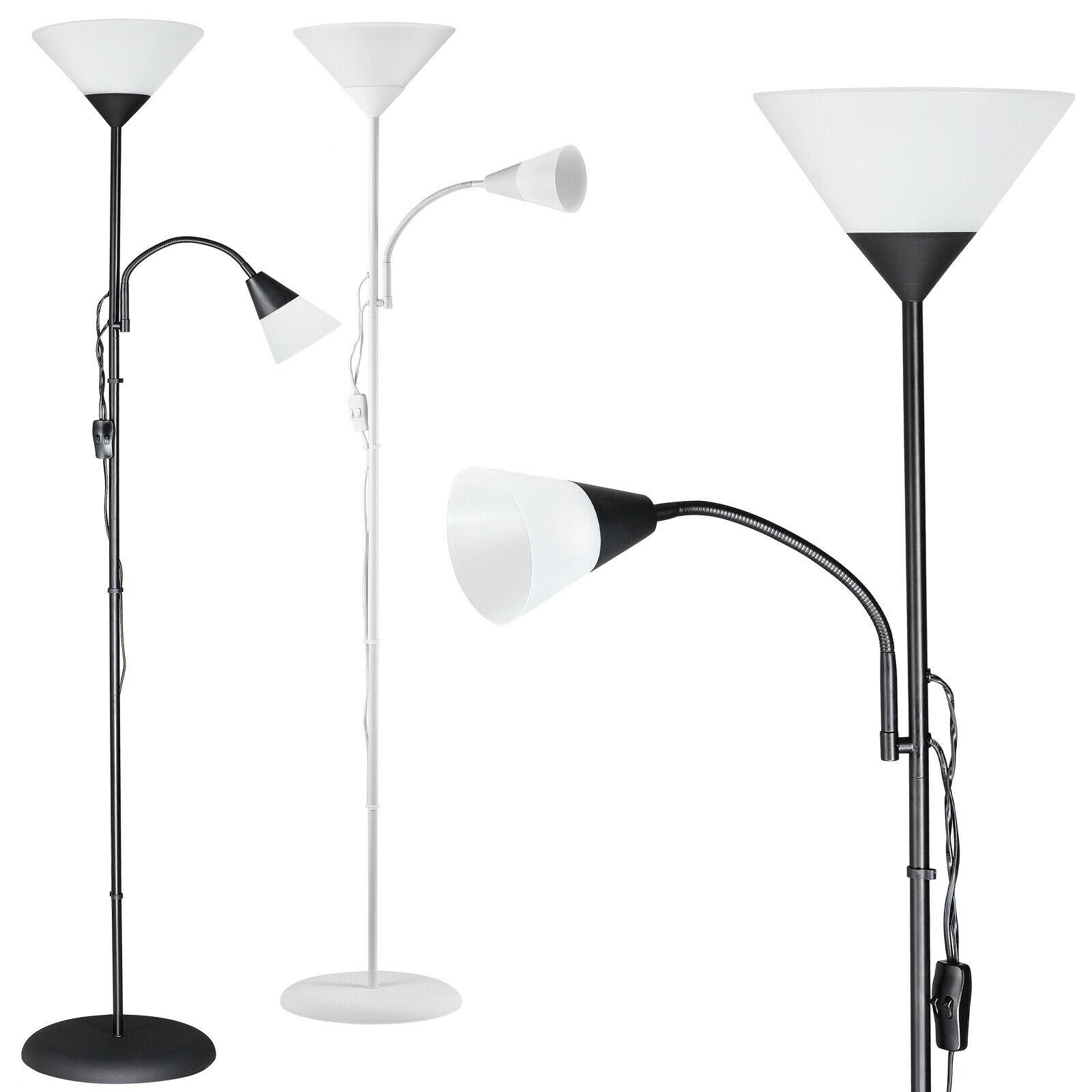 Lampadaire sur pied avec liseuse - Lampe orientable, 175 cm, Blanc