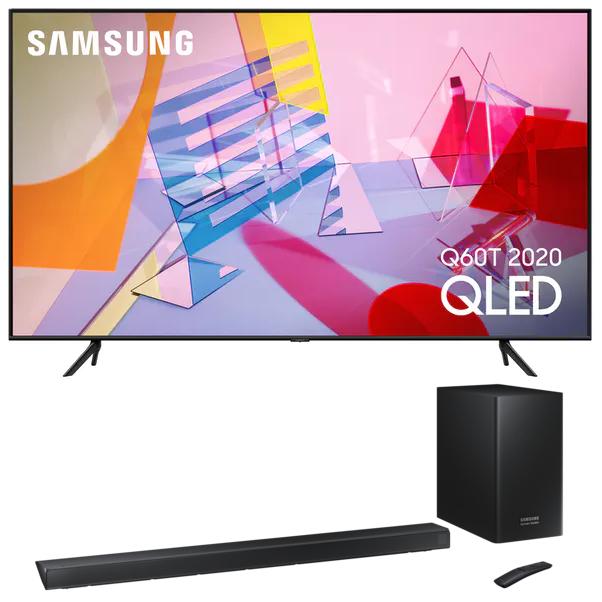 """TV 85"""" Samsung QE85Q60T 2020 (QLED, 4K UHD, HDR 10+, Smart TV) + Barre de son Samsung HW-Q60R (360W) - Via ODR de 259.90€"""