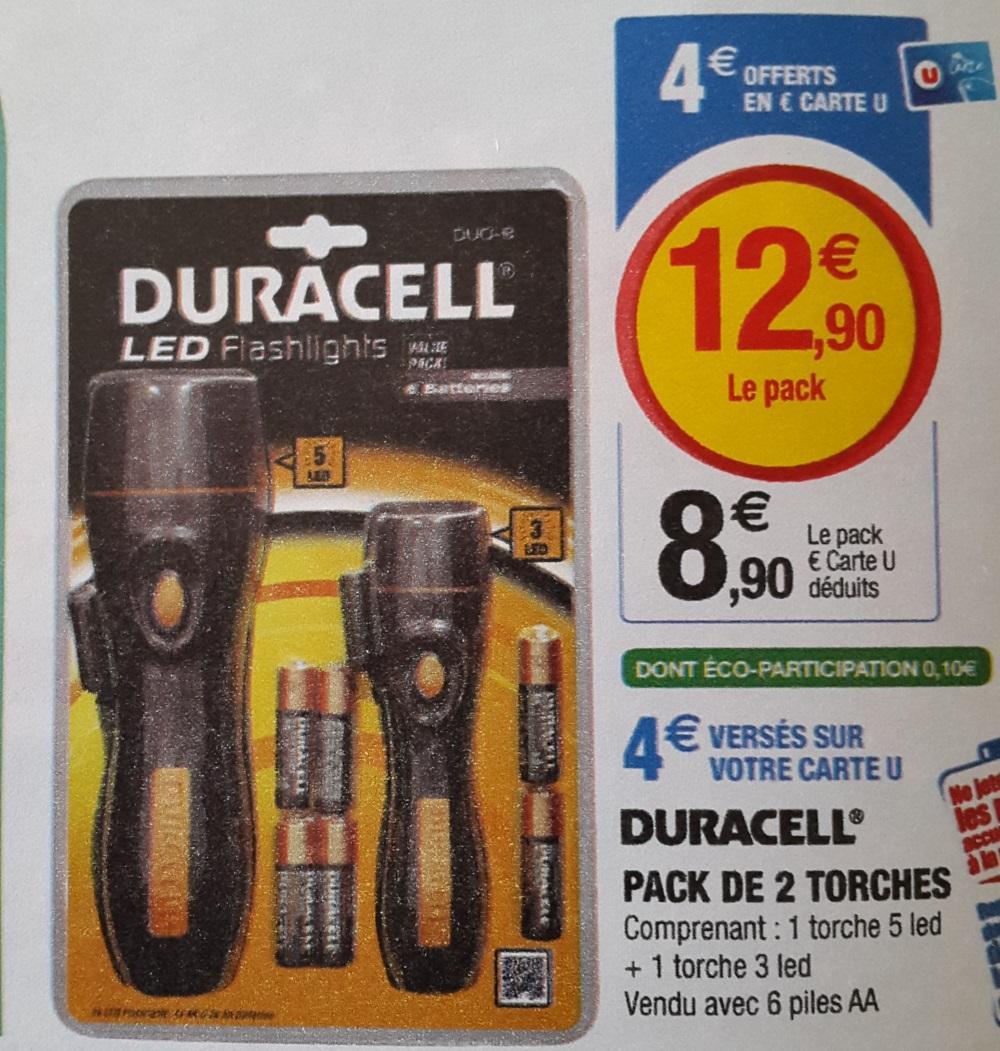 Pack de 2 torches LED Duracell avec piles (dont 4€ sur la carte fidélité)