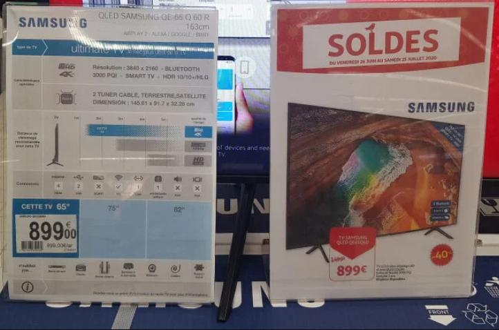 "TV QLED 65"" Samsung QE65Q60R - 4K UHD, 100 Hz, HDR 10+, 3100 PQI, Smart TV (Frontaliers Luxembourg)"