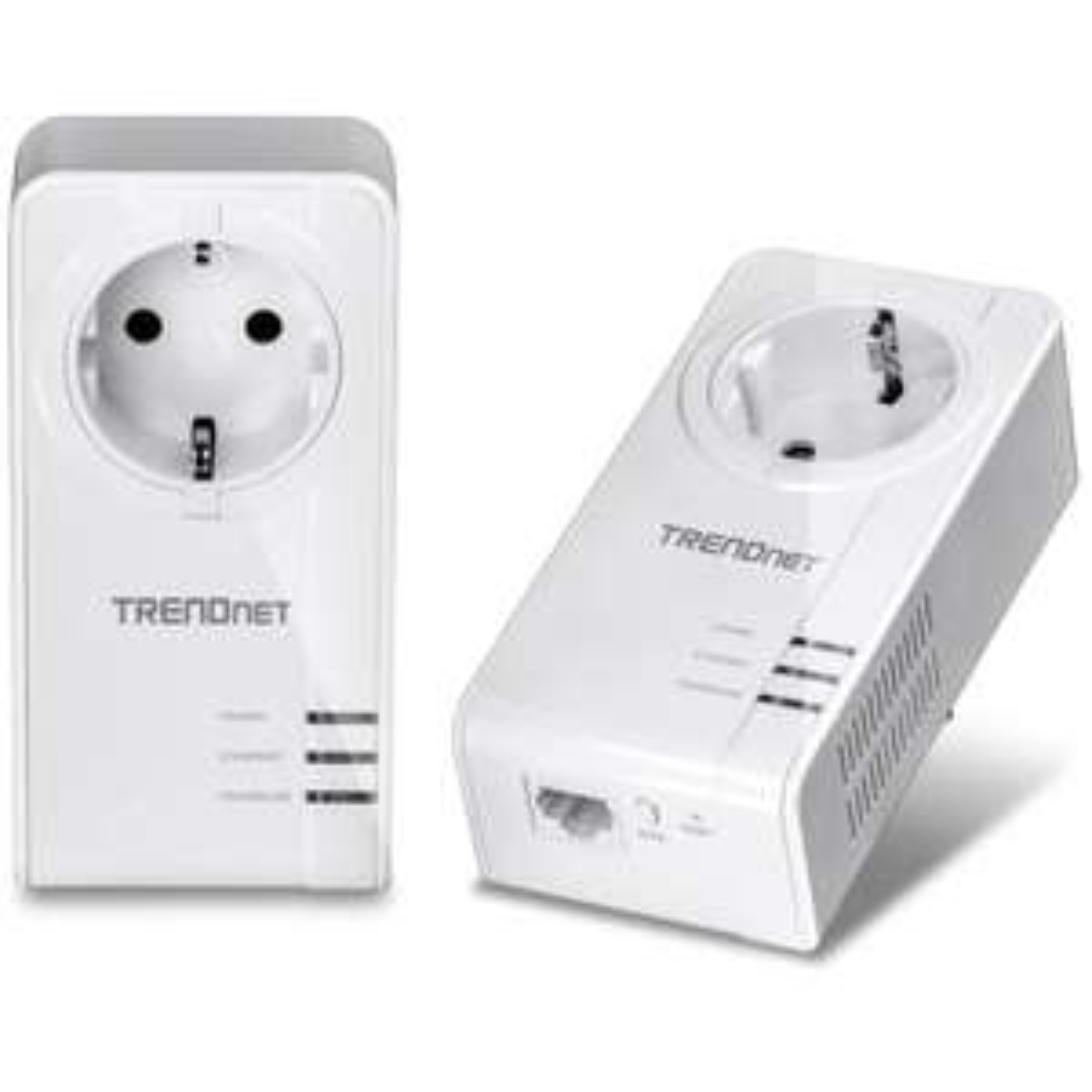 Pack de 2 CPL TRENDnet TPL-421E2K 1200 AV2 avec port gigabit et prise femelle intégrée