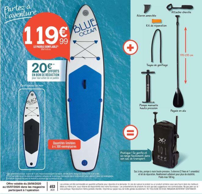 Kit Paddle Blue ocean + Pompe + Sac + Pagaie + Kit de réparation 305 x 71 x 10cm (+ Bon d'achat de 20€ utilisable dès 20€)